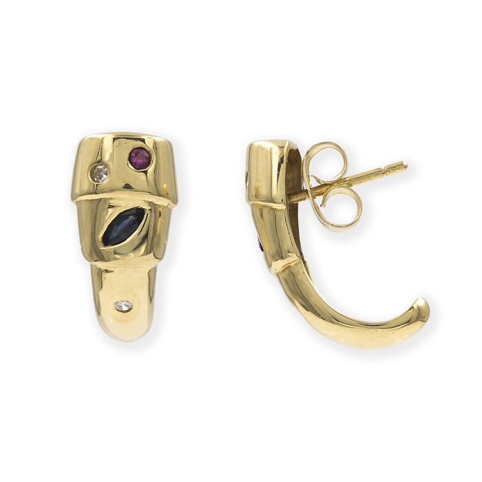 Yellow gold, 18 kt - Earrings - Diamonds, 0.10 ct - Rubies, 0.10 ct, Sapphires, 0.20 ct - Earring height: 16.55 mm