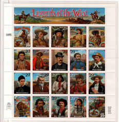 USA – 1994 – Sheet, Legends of the West, error – Unificato (2017/18) catalogue no. 2618/37 + 2624A