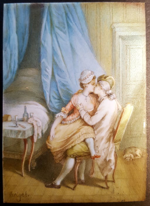Miniature painting of a loving couple - Gouache on ivory - signed - France - 19th century
