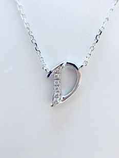 18 kt white gold initials necklace with diamond-studded letter 'D' - 0.015 - G-SI - length 40 cm
