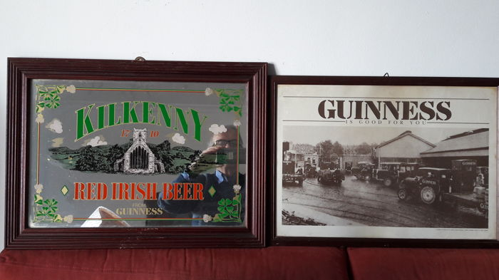 "Two large advertising items: one by ""Guinness"" and one by ""Kilkenny"""
