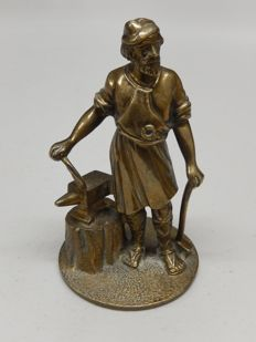 Very Clean Vintage Early Blacksmith Vulcan Cars Original Solid Brass Metal Mascot with no damage