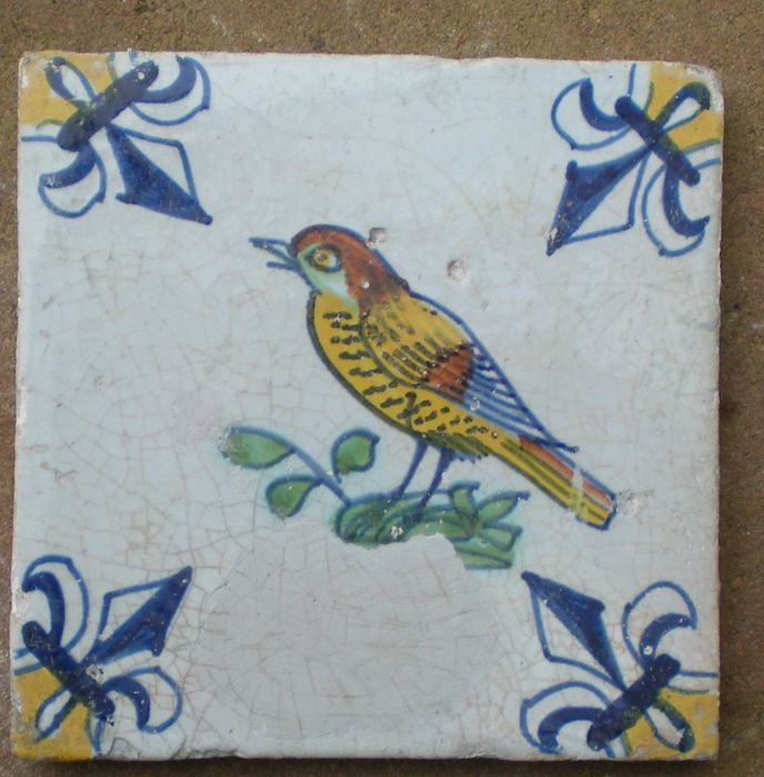 Antique tile with multicoloured bird (rare type)