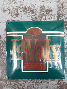 Enamel advertising sign for LaValy Espresso with the inscription ''Anno 1801 Miko''