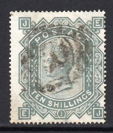 Great Britain 1878 QV - 10/- Greenish Grey Plate 1, Stanley Gibbons 128