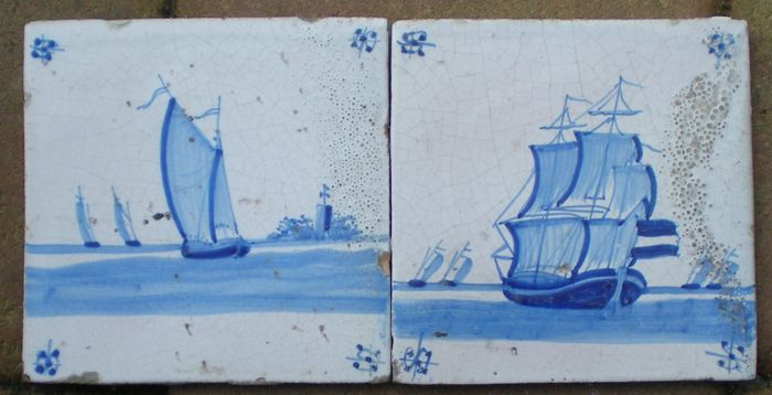 Lot with two antique tiles depicting boats, spider corner motif, special depiction