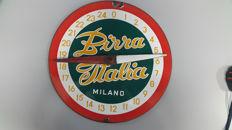 "Scoreboard of the game Boccette from the brand ""Birra Italia Milano"" made of enamelled metal, 60s"