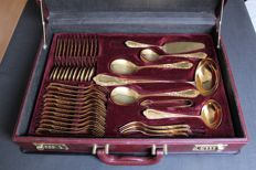 Luxurious 70-piece quality cutlery set from the Nivella Company, Solingen - 23/24 karat hard gold plated in a leather case