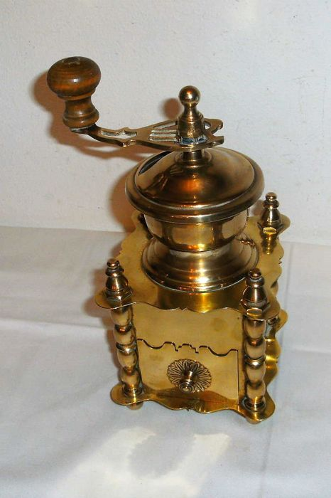 Beautiful French copper coffee grinder.