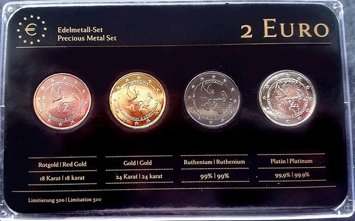 Monaco - 2 Euro 'Admission to UN' 2013 Refined (4 different plated coins) - Precious Metal Set
