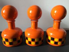 Set of 3 Retro Orange Jars