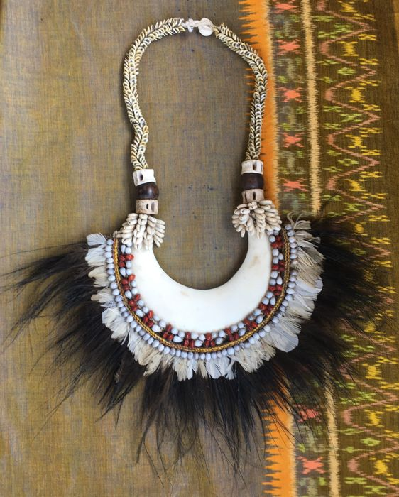 Large kina shell necklace with cassowary feathers - Papua New Guinea