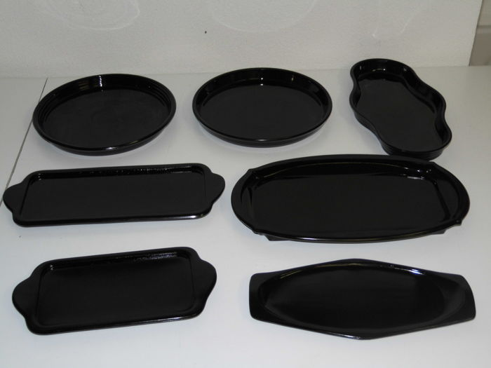 A. D. Copier Leerdam 7 pressed glass serving trays