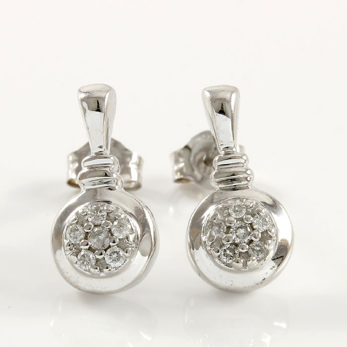 14k White Gold Earrings Set with 0.12 ct Diamonds - 12 mm long  - no reserve