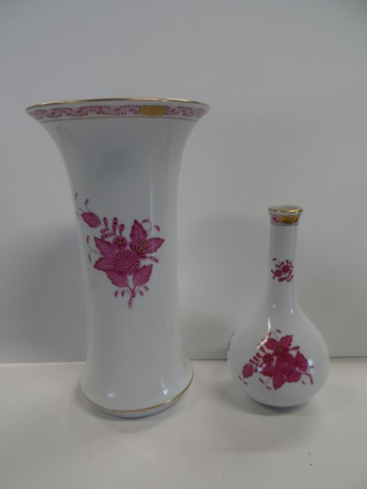 2 Herend Vases Large Vase And A Bulbous Vase With A Long Neck