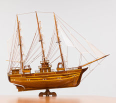 Beautiful wooden three-master ship
