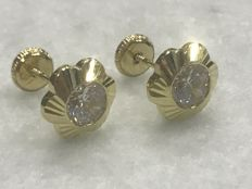 Daisy earrings with 18 kt gold and zirconium - Zirconiums - 5 mm x 5 mm