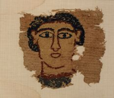 Fragment of an Egyptian tapestry with portrait of a man - Size without frame: 29 cm x 27 cm