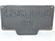Old cast iron sign from a train NNBS 1946