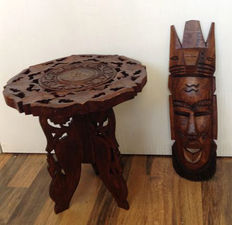 Hand crafted hardwood tribal mask and side table