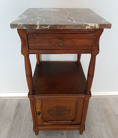 Oak (night) cabinet with marble plate and lovely brass buttons, ca. 1930