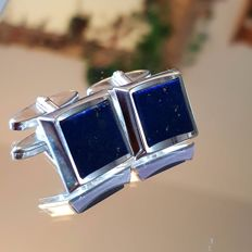 Vintage lapis lazuli silver cufflinks, middle of the 20th century