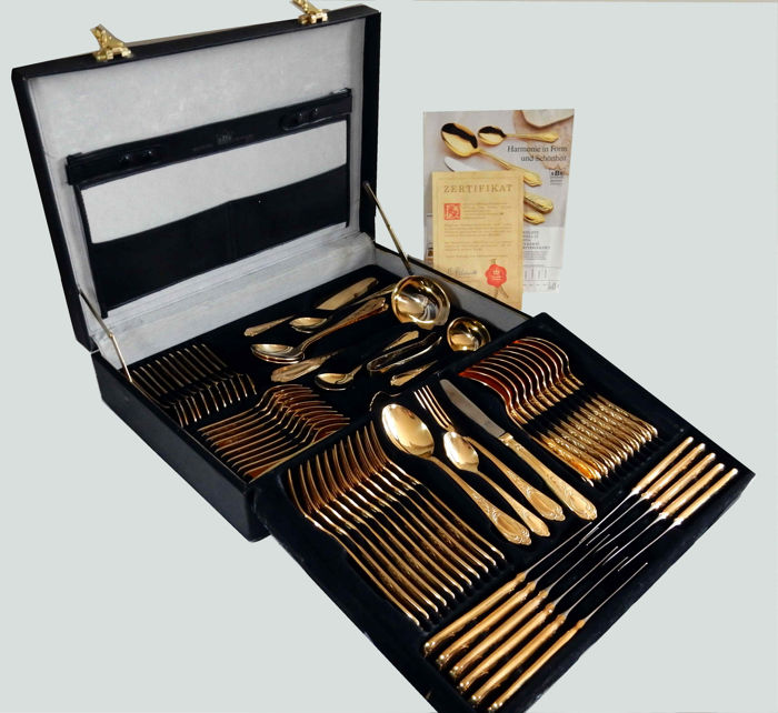 SBS Solingen Wien - Cutlery set for 12 people stainless steel 18/10 gold plated 23/24 carat - 71 pieces