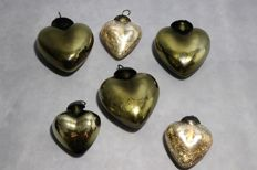 Set of six big glass hearts, Christmas decorations