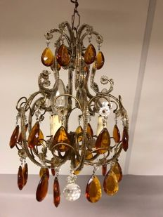 French chandelier 3-light points with amber-coloured icicles -ca. 1910