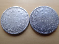 The Netherlands - 25 cents 1898 and 1901a, broad neck, Wilhelmina - silver