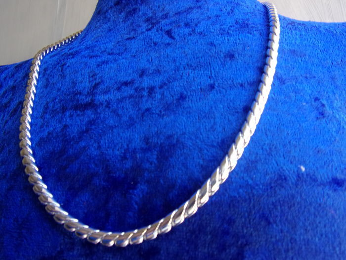 sterling silver women's necklace,  925, wide: 3 mm, weight: 40 grams, necklace length: 50 cm