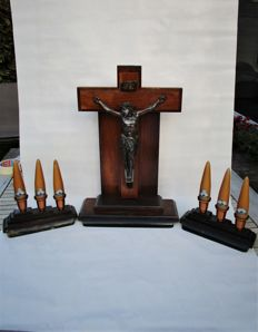 3 Piece - Bronze Jesus Christ On Oak Crucifix Altar/Chapel?? Set