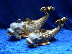 Capodimonte & Swarovski - 2 beautiful koi fish