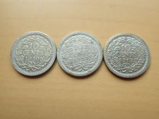 The Netherlands - 10 cents 1910/1912, Wilhelmina (3 pieces) - silver