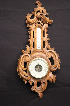 Dutch holosteric barometer on hand-carved wooden plate - 1880