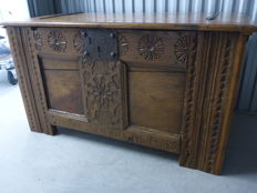 Dutch oak blanket chest - with name and date 1796