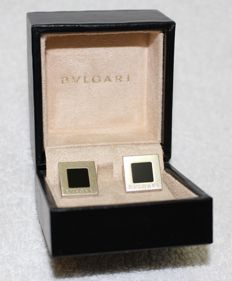 Bvlgari - Cufflinks 925k solid silver and onyx - 2000's