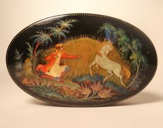 Hand-painted signed Russian lacquer box