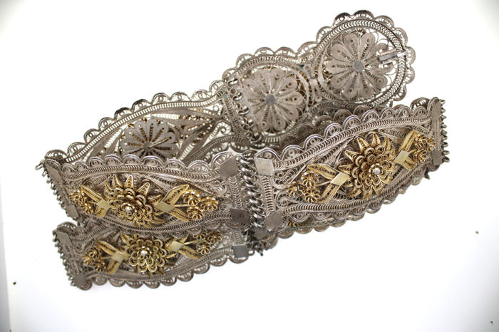 925 filigree women's belt, everything handmade, unique piece, RARE 465.80 g & old