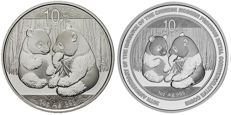 China – 10 Yuan 2009 'Panda' and  'Panda Jubilee edition' (2 coins) – 2 x 1oz silver