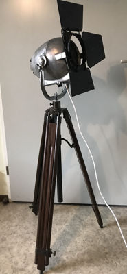 Strand Electric - Industrial spot on old wood & brass tripod