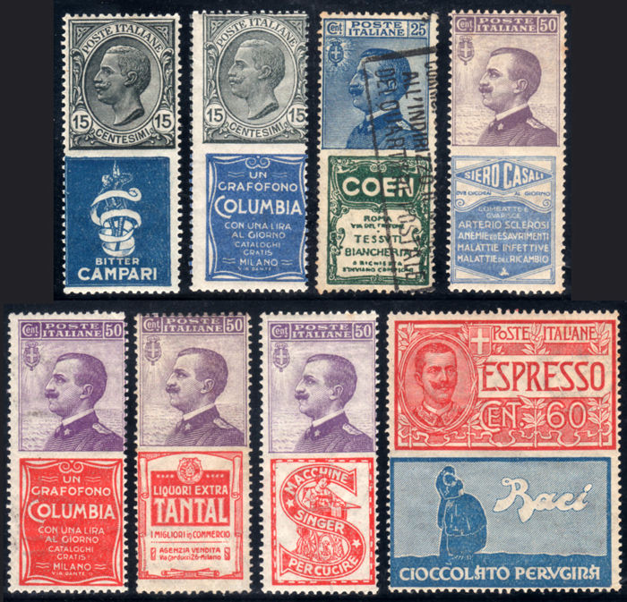 Italy, Kingdom 1924 - Advertising stamps (8 specimens) - Sass.  No.  1/2, 5, 11, 15/16, 18, 21