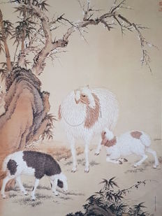 Scroll, print replica of old painting 《郎世宁-开泰图》- China - late 20th century