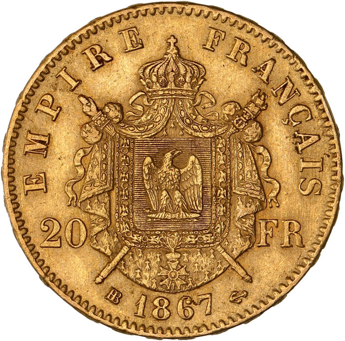 France - 20 Francs 1867 BB (Strasbourg) - Napoleon III - gold