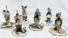 Zampiva - 6 clown figures - Italian ceramic, handmade and painted