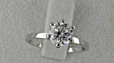 IGL 1.00 ct D/VS2 round diamond ring made of 14 kt white gold - size 6