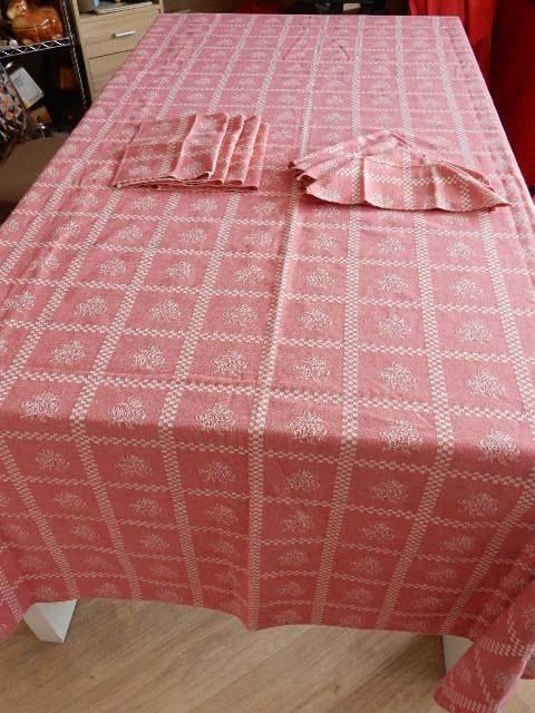 Beautiful rectangular tablecloth in pure heavy cotton - pink and white - 8 table napkins - France