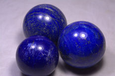 Top Blue Lapis Lazuli Sphere 3 pecieses - 65mm -65mm - 57mm - 1100 gm (3)
