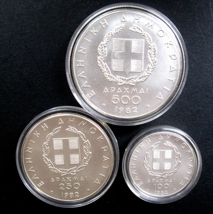 Greece - 100, 250 and 500 Drachma 1982 'Olympic Games' (3 different kinds) - silver