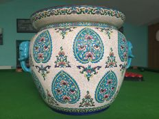 Enamel of Longwy, Flower pot  with handle in elephant head
